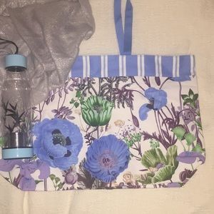 New Estée Lauder blue Poppies Floral Large Tote